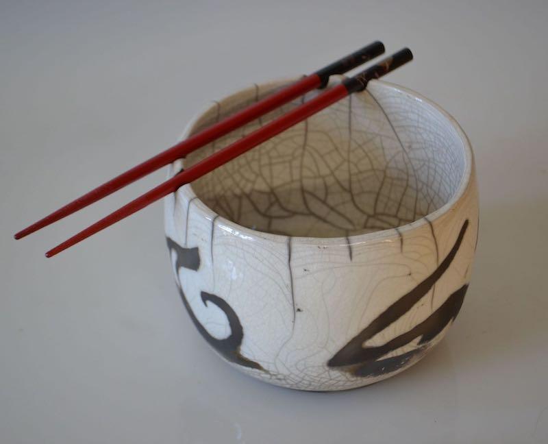 Porcelain Raku Rice Bowl with Red Chopsticks