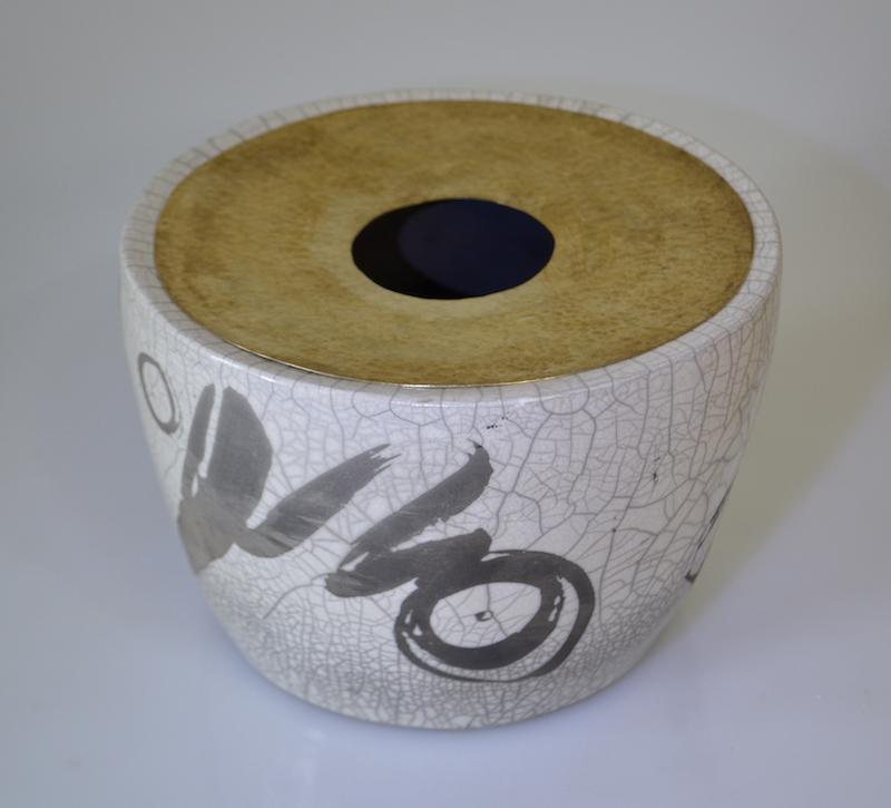 Drum Vessel with Hammered Brass Rim