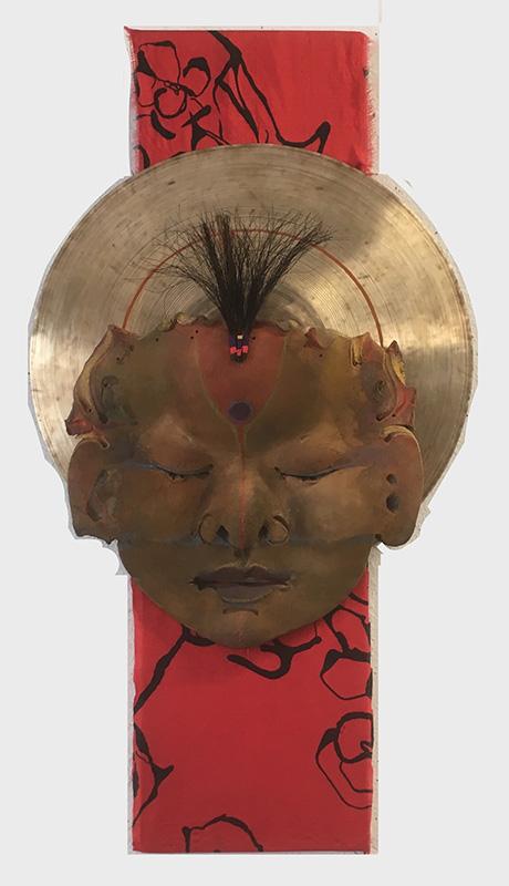 Buddhist Goddess on Red Silk