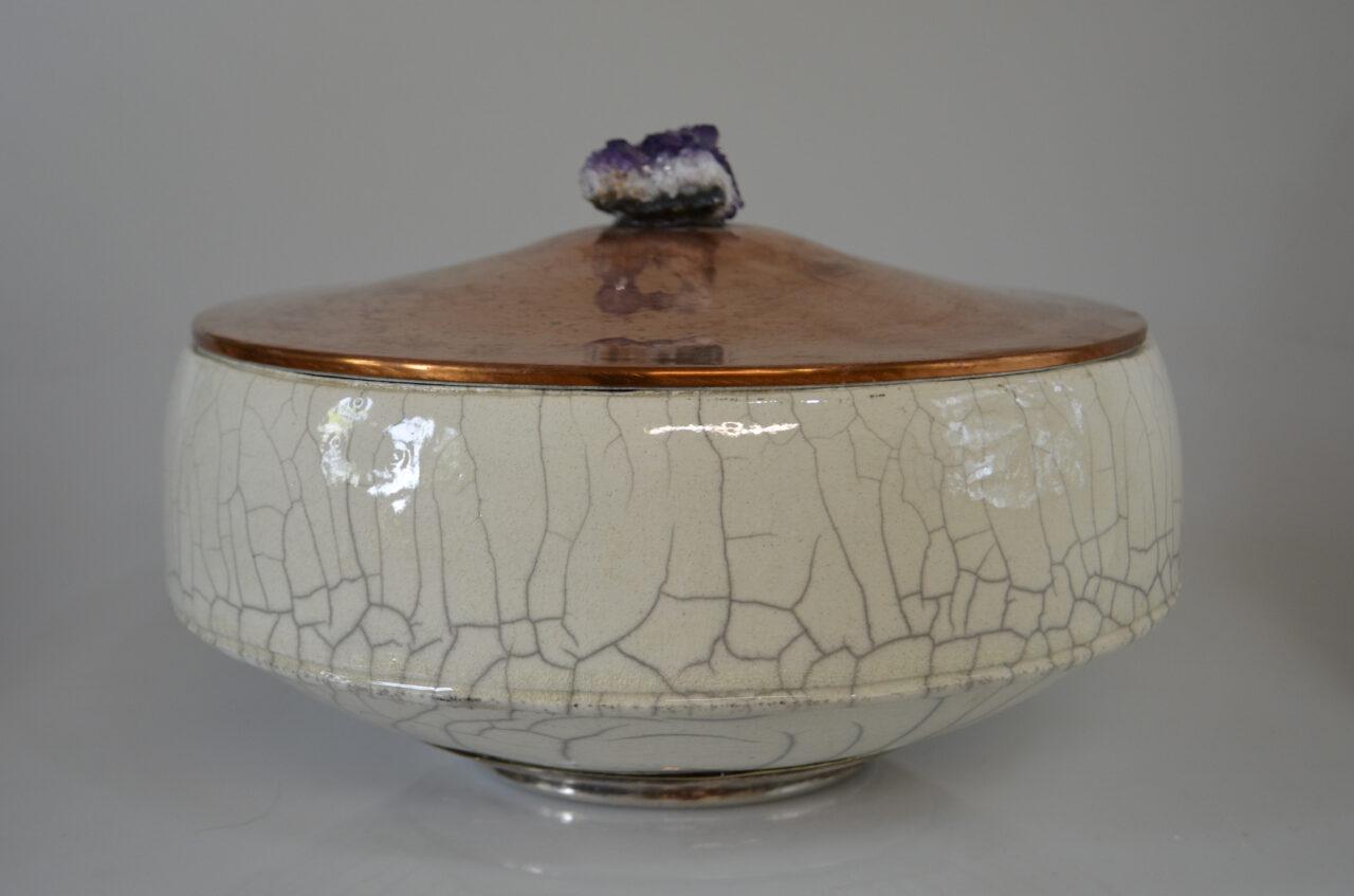 Barrel Cake Bowl with Copper Lid & Amethyst