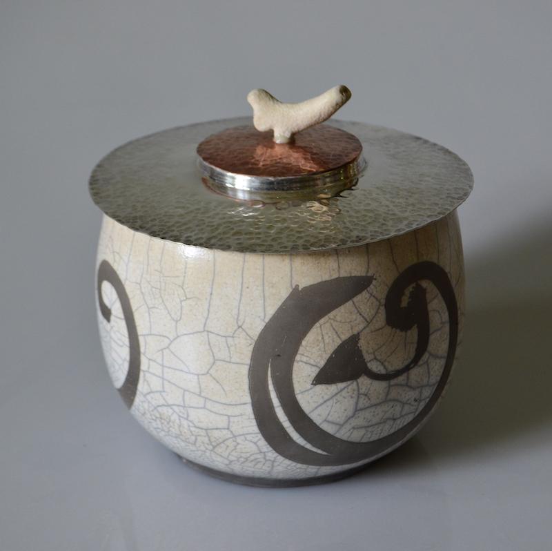 Swirls Raku Pot with Silver & Copper Lid Coral Topped
